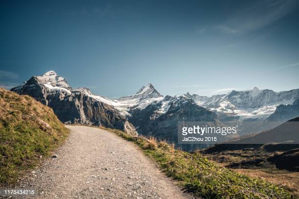 empty hiking road - switzerland stock pictures, royalty-free photos & images