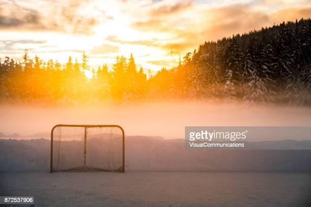 Empty hockey net on frozen lake.