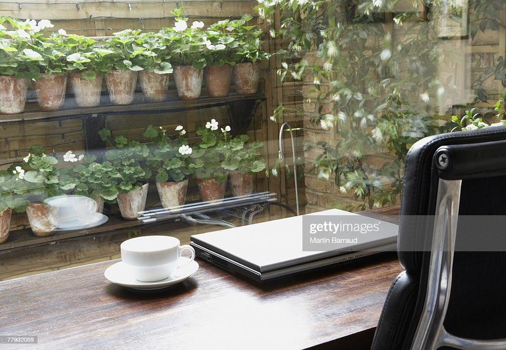Empty home office with mug on desk and garden outdoors : Stock Photo