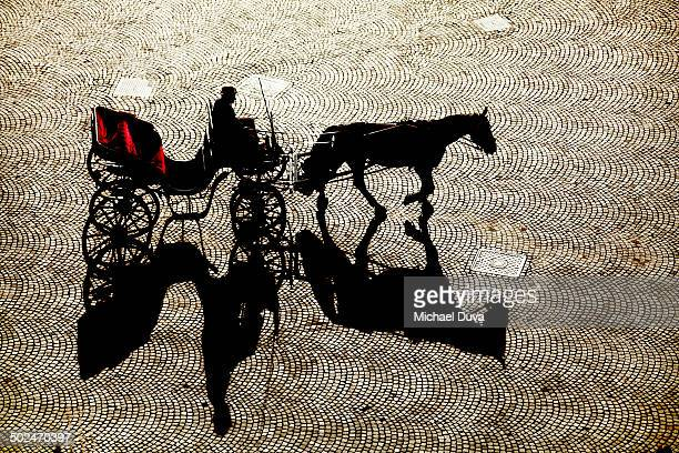 empty horse and carriage with driver in silhouette - 四輪馬車 ストックフォトと画像