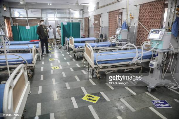 Empty hospital beds seen during a dry run vaccination process mechanism for covid-19. India will require a total of 66 Millions doses of coronavirus...