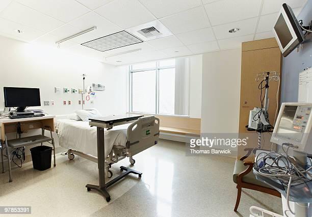 Empty hospital patient room