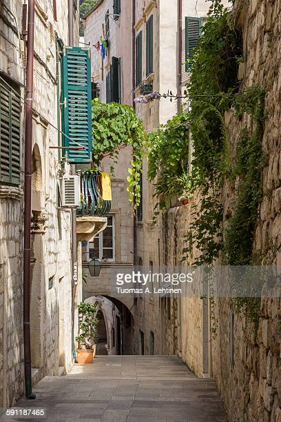 Empty & idyllic alley at Dubrovnik's Old Town