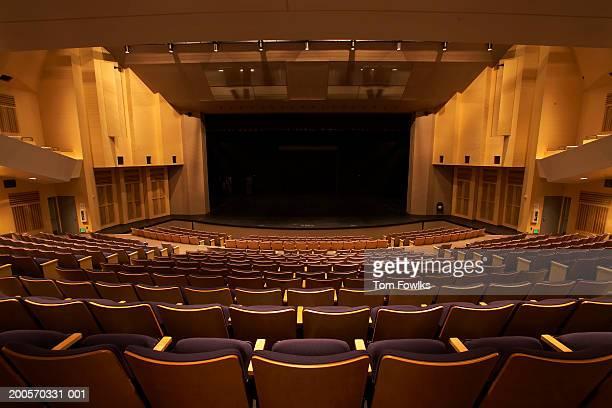 Empty illuminated auditorium, elevated view