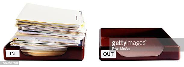 empty in box and full out box - inbox filing tray stock pictures, royalty-free photos & images