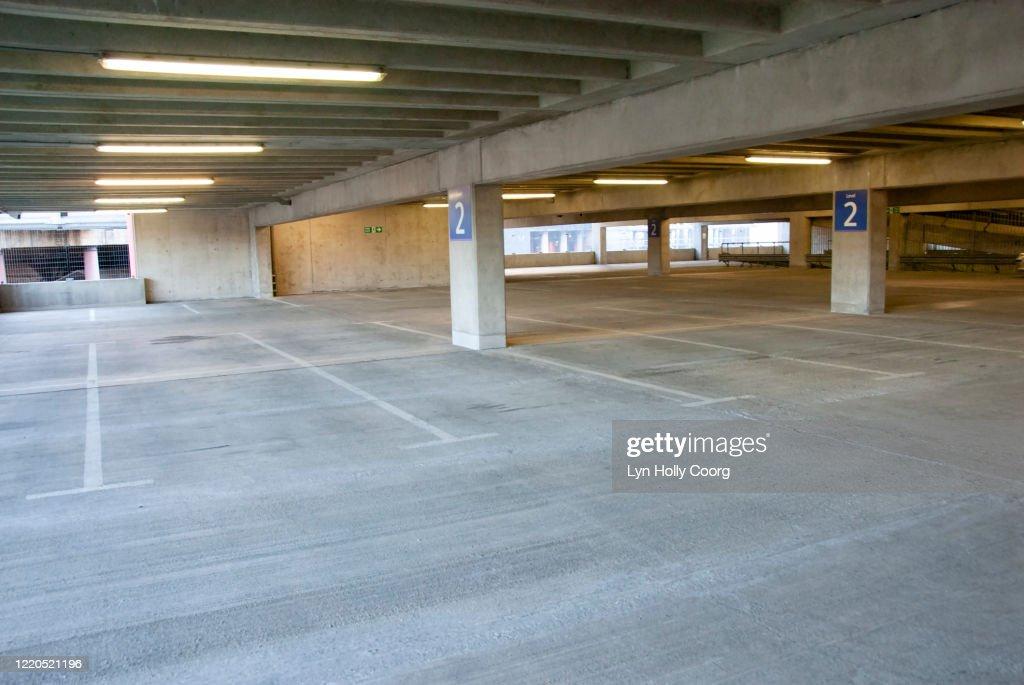 Empty indoor Carpark : Stock Photo