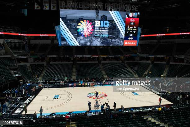 Empty interior after the Big Ten cancelled due to the impact of concerns over the Coronavirus disease during the men's Big Ten Tournament basketball...