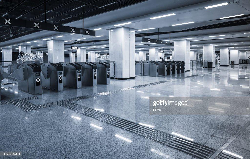 Empty interior subway station : Stock Photo