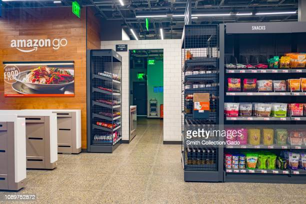 Empty interior with logo at Amazon Go concept store a physical retail store operated by Amazon in which shoppers are able to take items from shelves...