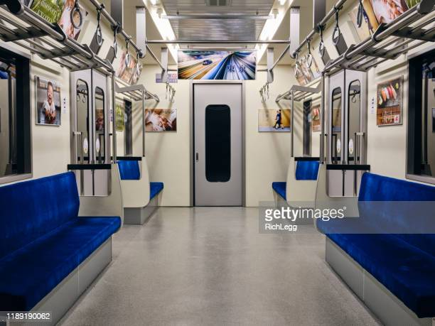 empty japanese subway train - rail transportation stock pictures, royalty-free photos & images