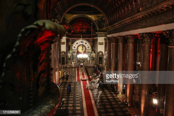 Empty Kazan Cathedral in St. Petersburg before the Easter service. The Easter service was held without the parishioners of the Church to prevent...