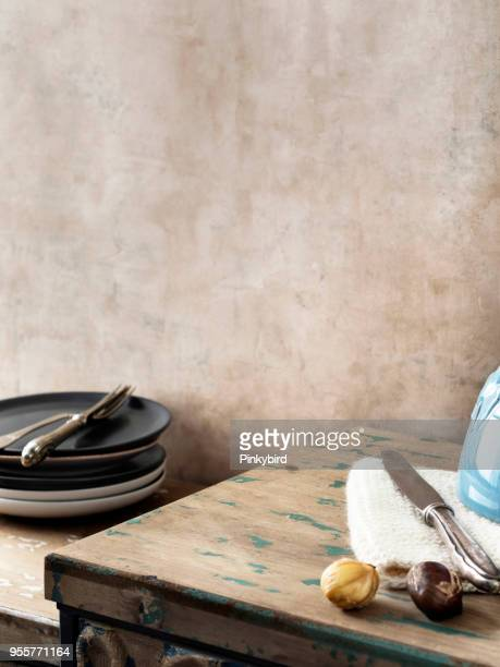 empty kitchen,food,serving,home interior - chestnut food stock pictures, royalty-free photos & images