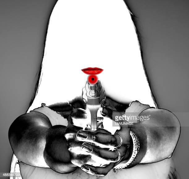 empty lady face with red lips and a toy gun - gun barrel stock pictures, royalty-free photos & images