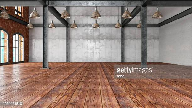 empty large warehouse - wooden floor stock pictures, royalty-free photos & images