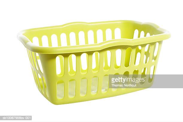 Empty laundry basket on white background