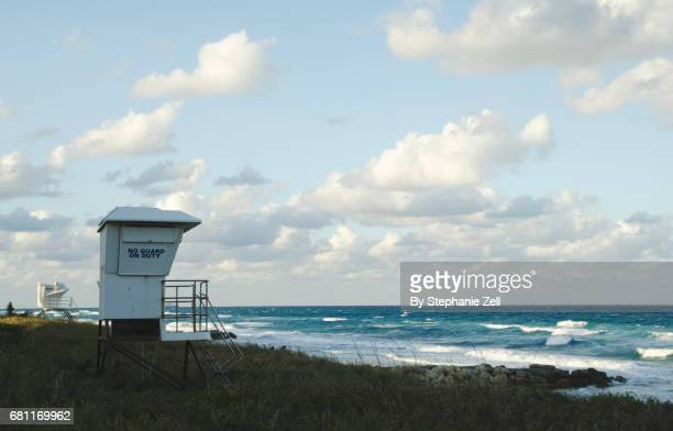 Empty lifeguard huts on beach