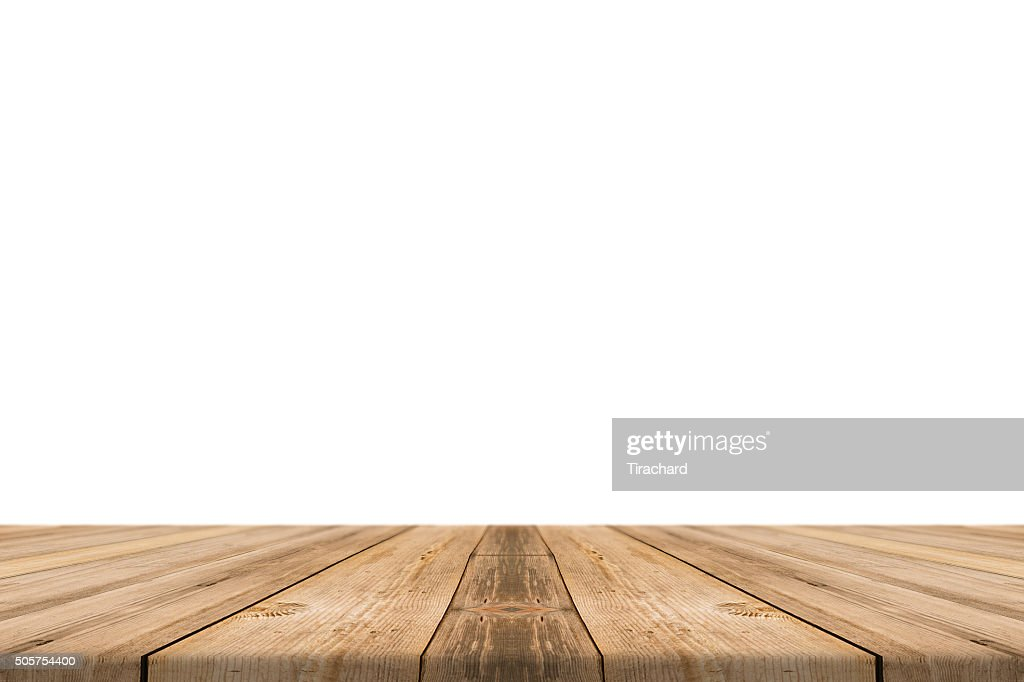 wood floor perspective. Empty Light Wood Table Top Isolate On White Background. Floor Perspective
