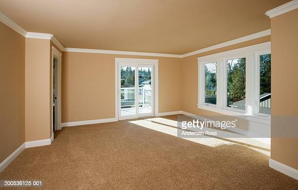 empty living room - tapijt stockfoto's en -beelden