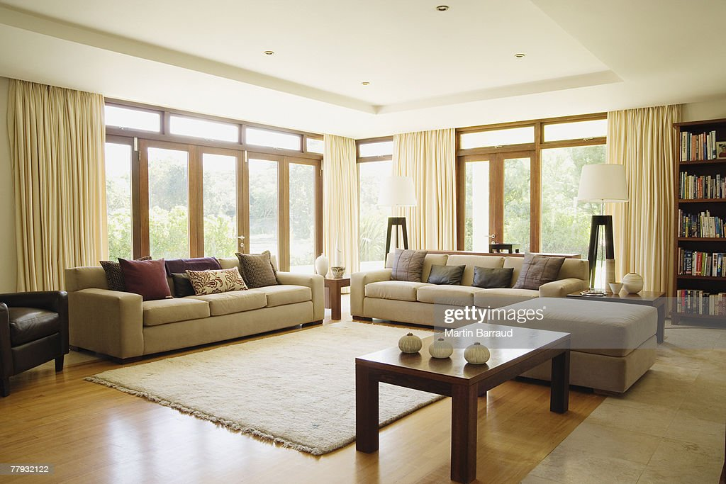 Empty living room with large windows : Stock Photo