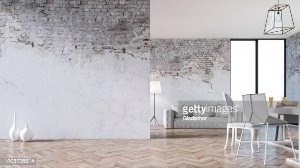 empty living room with sofa, table and chairs - ruined wall - imagem super exposta imagens e fotografias de stock