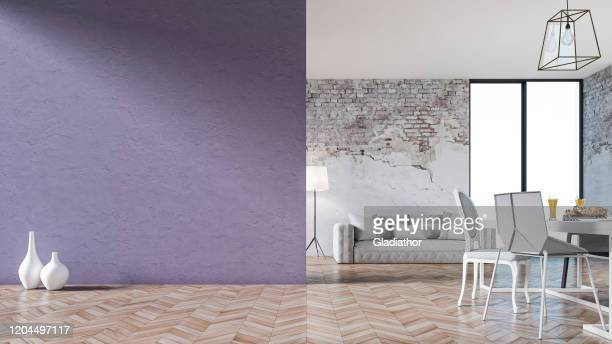 empty living room with sofa, table and chairs - ruined wall - purple lilac stock pictures, royalty-free photos & images