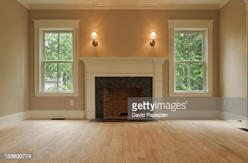 Traditional Living Space Photos: Empty Living Room With Traditional Style Trim Stock Photo