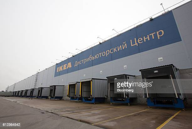 Empty loading bays for goods trucks sit in numbered berths outside the Ikea AB distribution center in Yesipovo village near Moscow on Monday Oct 3...