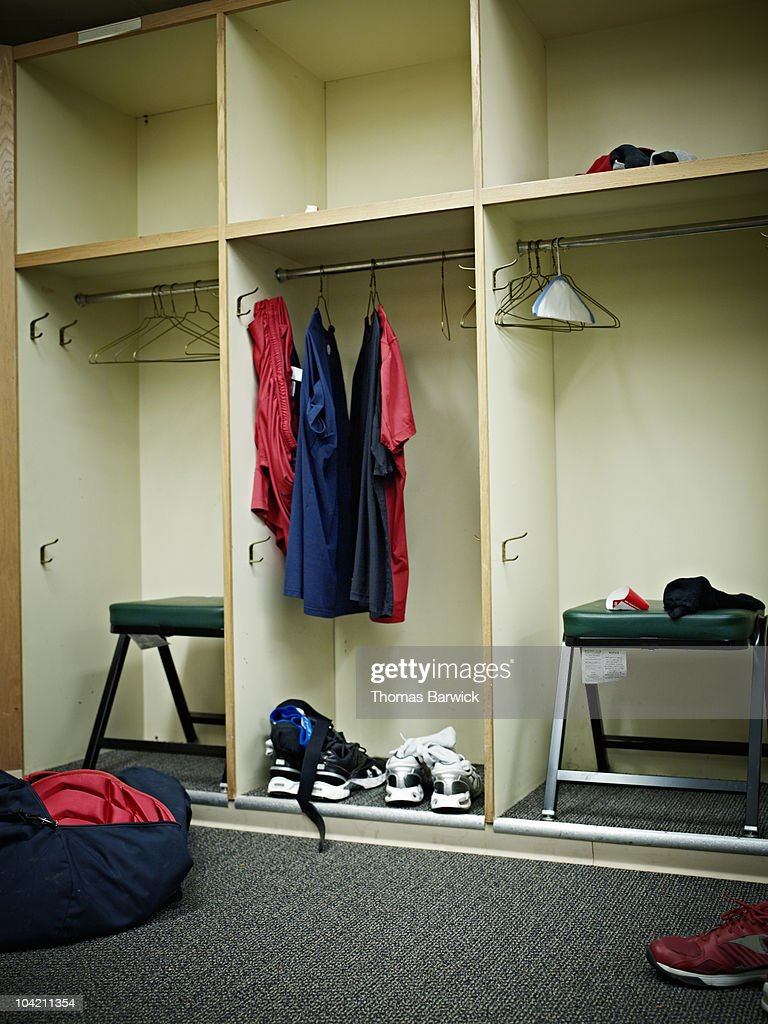 Empty Locker Room In Baseball Stadium Stock Photo
