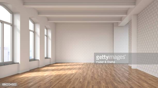 empty loft with view at skyline - empty room stock pictures, royalty-free photos & images