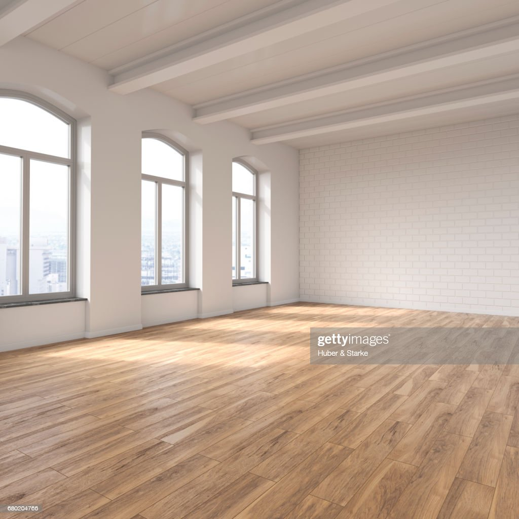 empty loft with view at skyline : Stock Photo