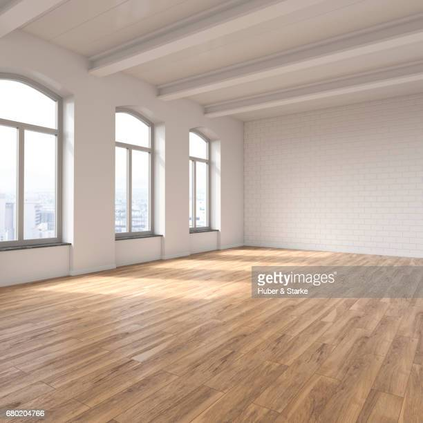 empty loft with view at skyline