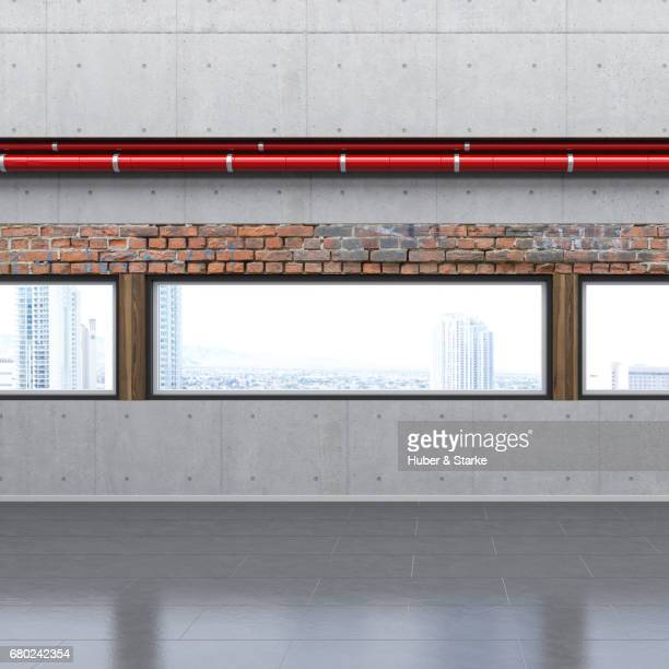 empty loft with view at skyline - eleganz stock pictures, royalty-free photos & images