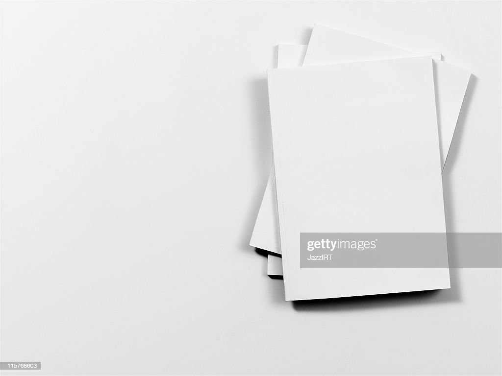 Empty magazine covers on white background : Stock Photo