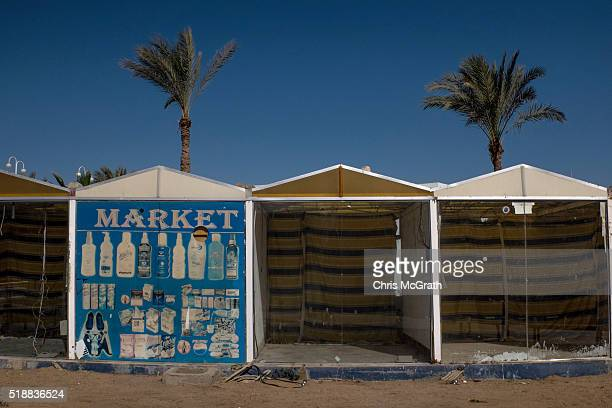 Empty market stalls are seen in the resort town of Naama Bay on April 1 2016 in Sharm El Sheikh Egypt Prior to the Arab Spring in 2011 some 15million...