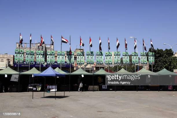 Empty marketplace is seen after the announcement of the ceasefire for 2 weeks by the coalition forces led by Saudi Arabia due to the novel...
