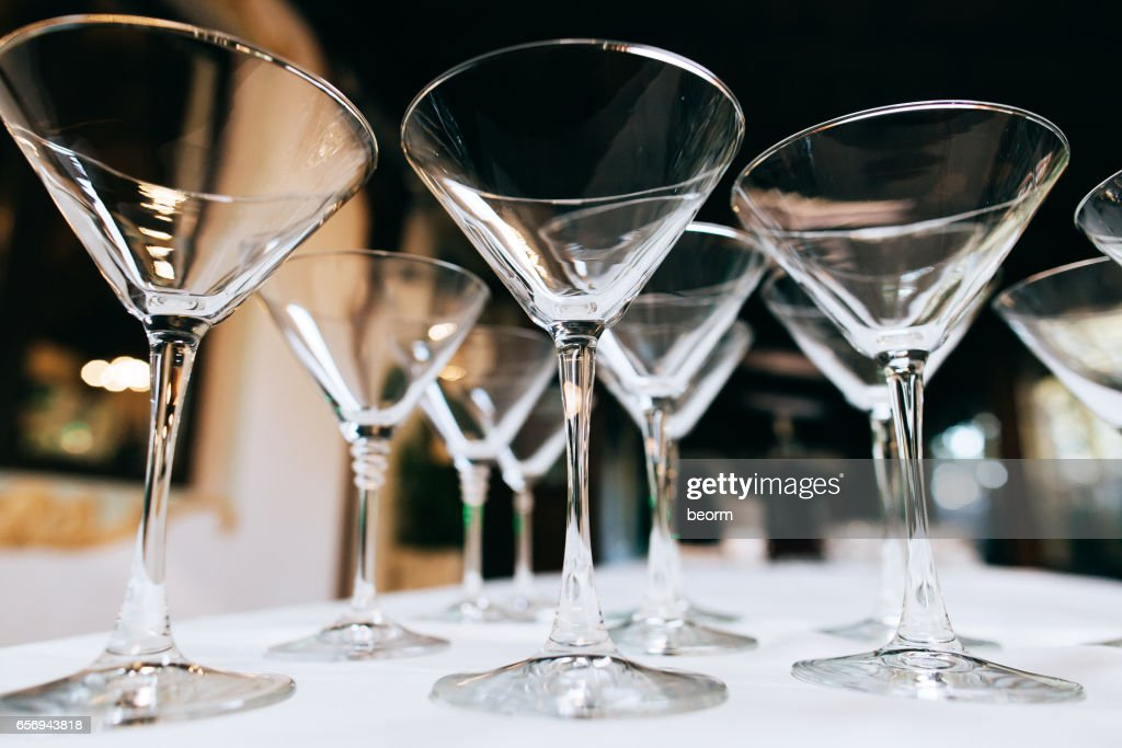 Empty Martini Glasses Closeup Wedding Reception Alcohol Drink Table