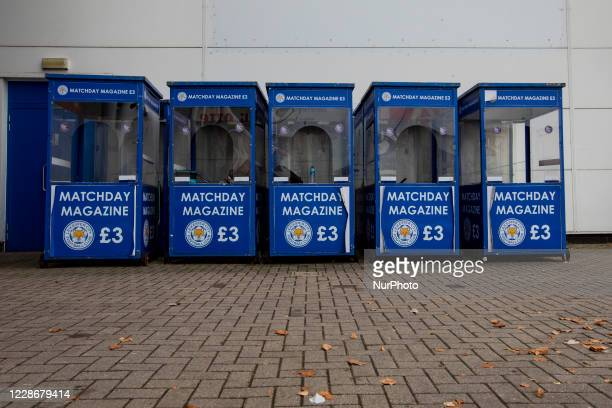 Empty match day magazine huts during the Carabao Cup match between Leicester City and Arsenal at the King Power Stadium Leicester England on 23rd...