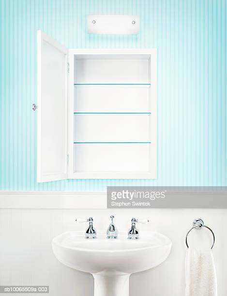 Empty medicine cabinet in residential bathroom