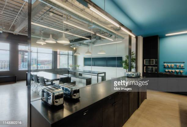 empty meeting room in office - domestic kitchen stock pictures, royalty-free photos & images