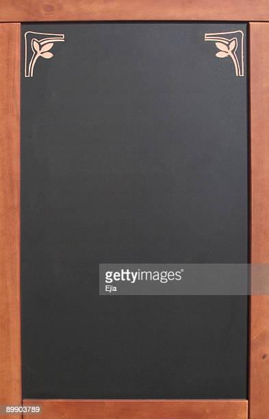 Empty menu blackboard with wooden frame