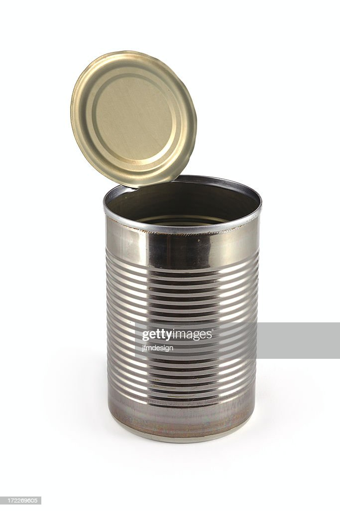 empty metallic open can : Stock Photo
