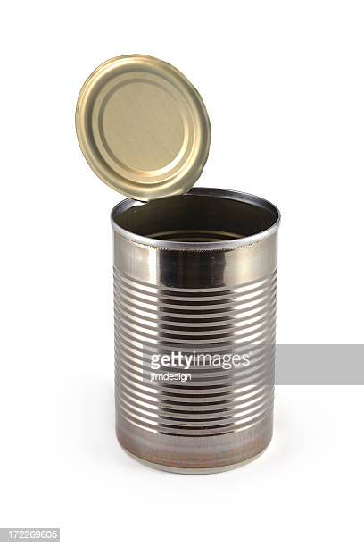 empty metallic open can - lid stock photos and pictures