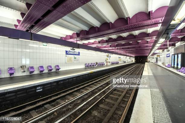 empty metro station in paris, france - france strike stock pictures, royalty-free photos & images