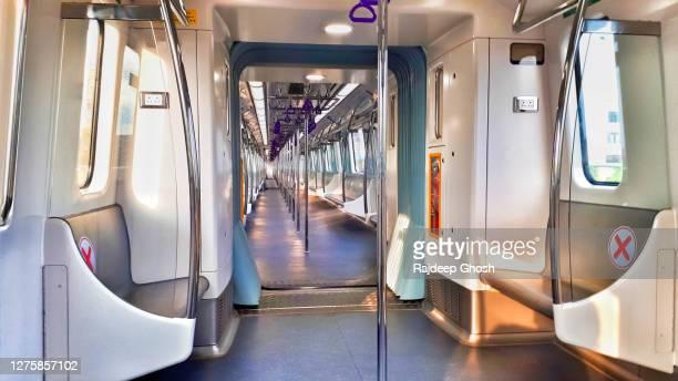 empty metro train during coronavirus outbreak - seat stock pictures, royalty-free photos & images