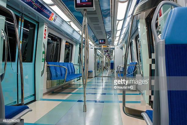empty metro train - train interior stock photos and pictures