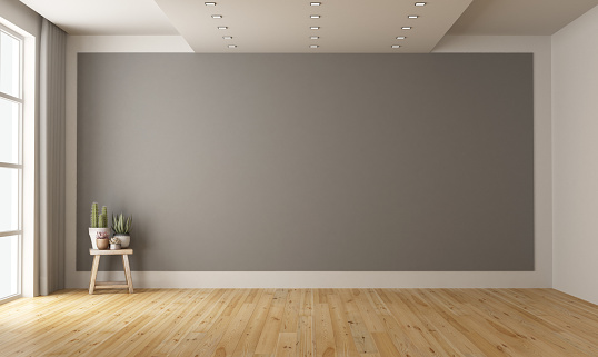 Empty minimalist room with gray wall on background 1129813604