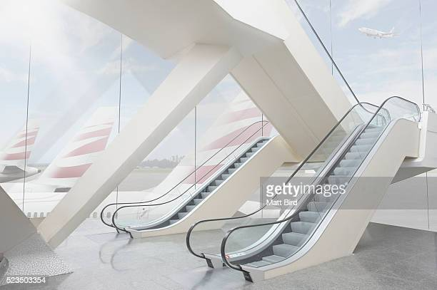 empty modern airport building - escalator stock pictures, royalty-free photos & images