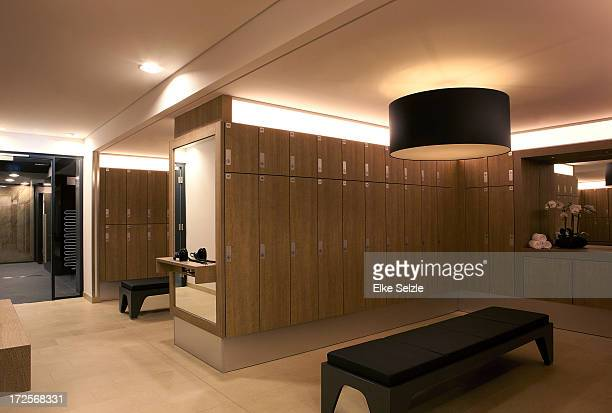 Empty modern clean locker room