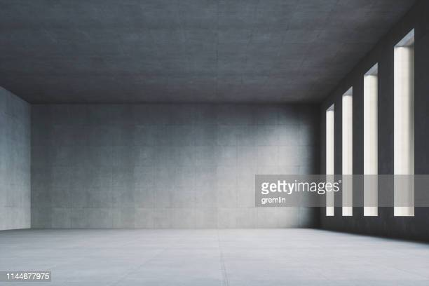 empty modern concrete room - domestic room stock pictures, royalty-free photos & images