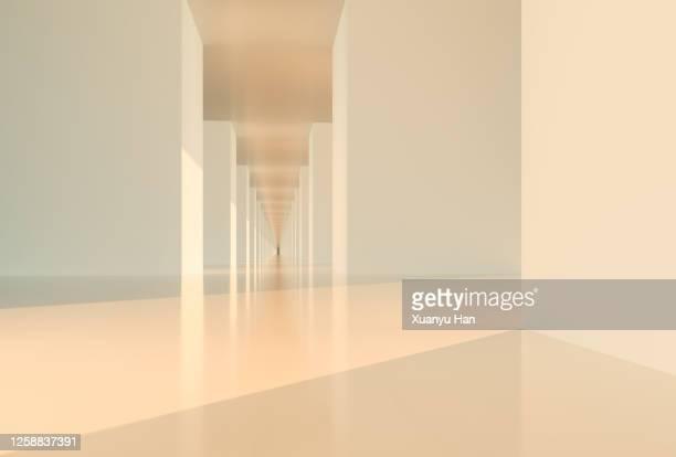empty modern corridor - クリーム色 ストックフォトと画像